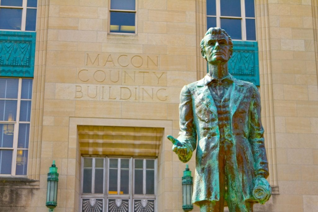 Lincoln Statue at the Macon County Courthouse