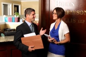 attorney discussing case with assistant in Decatur, Illinois