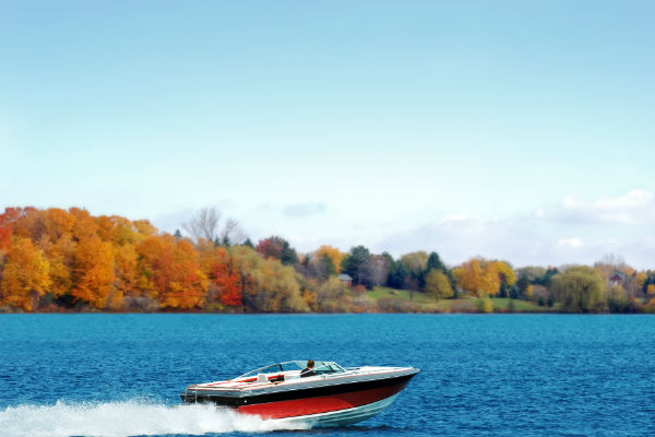 Speedboat on a lake